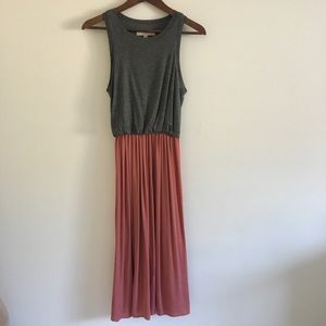 Ann Taylor Loft Midi grey Mauve Summer Dress XS